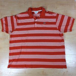 Lacoste Polo Shirt Orange Striped Cotton 10r 3XL